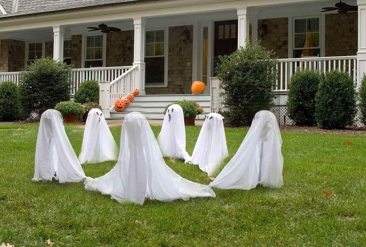 Ghost Group Lawn Decor Halloween Spooky Yard Porch Party Decoration 3 Pcs White