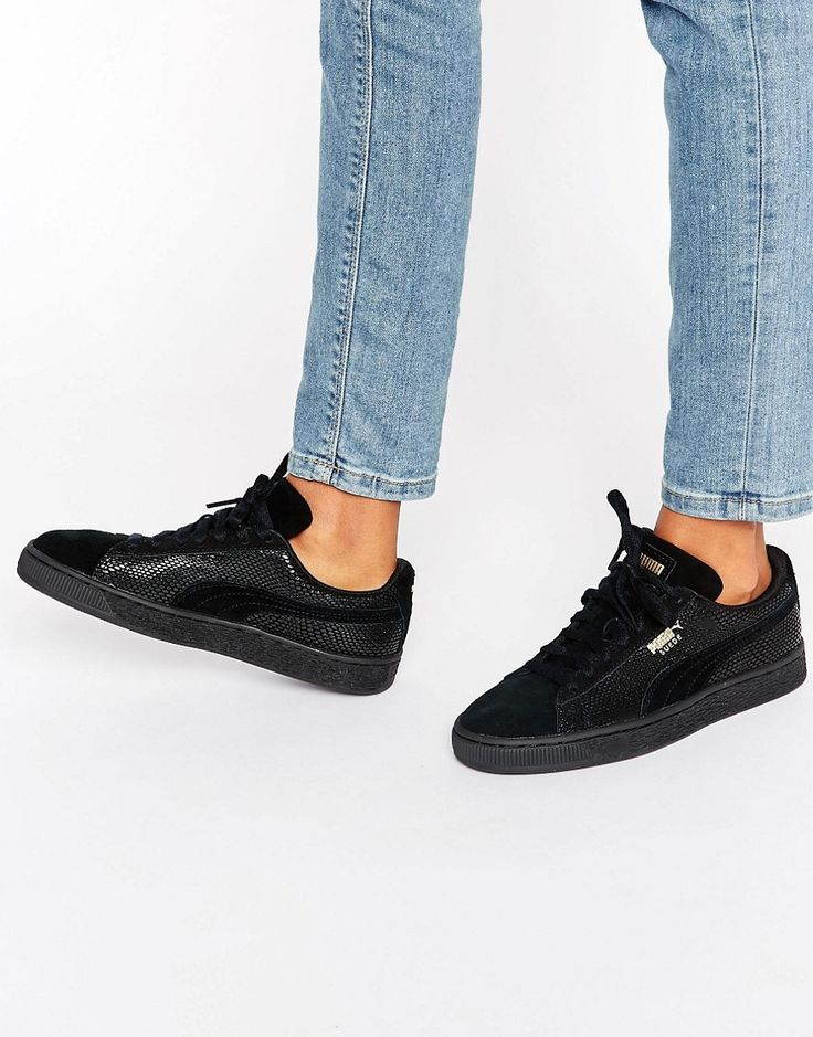 Image 1 of Puma Classic Suede Basket Sneakers In All Black Metallic