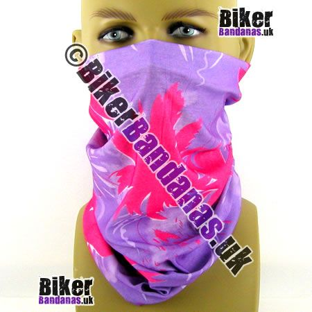 Pink on Lilac Floral Flowers Multifunctional Headwear / Neck Tube Bandana for Women Bikers Cyclists. Lightweight breathable thermal moisture-wicking. One of over 400 designs for Men and women