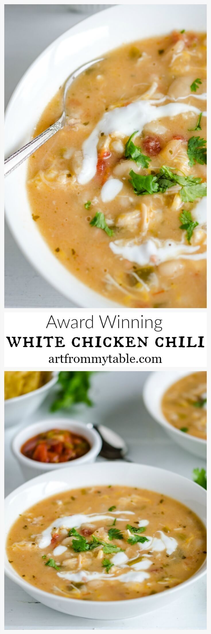 You won't be able to resist this White Chicken Chili ~ Tender chunks of chicken, creamy white beans, cheesy broth, and just the right amount of heat. #chilirecipe #easydinner #weeknightmeal #chickenrecipe