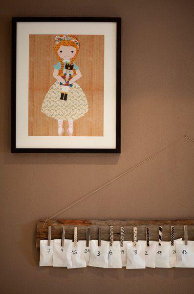 Wohnprojekt / DIY-Adventskalender mit Wäscheklammern und Masking Tape