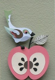 Apple bluebird papercut - Helen Musselwhite