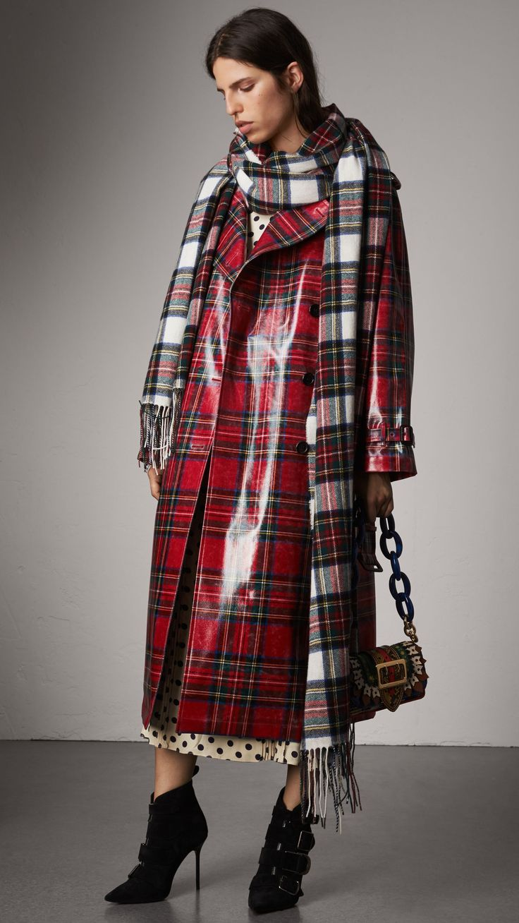 Laminated Tartan Wool Trench Coat in Bright Red - Women | Burberry