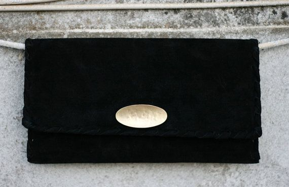 Black Leather Clutch  Suede Evening Envelope by EleannaKatsira