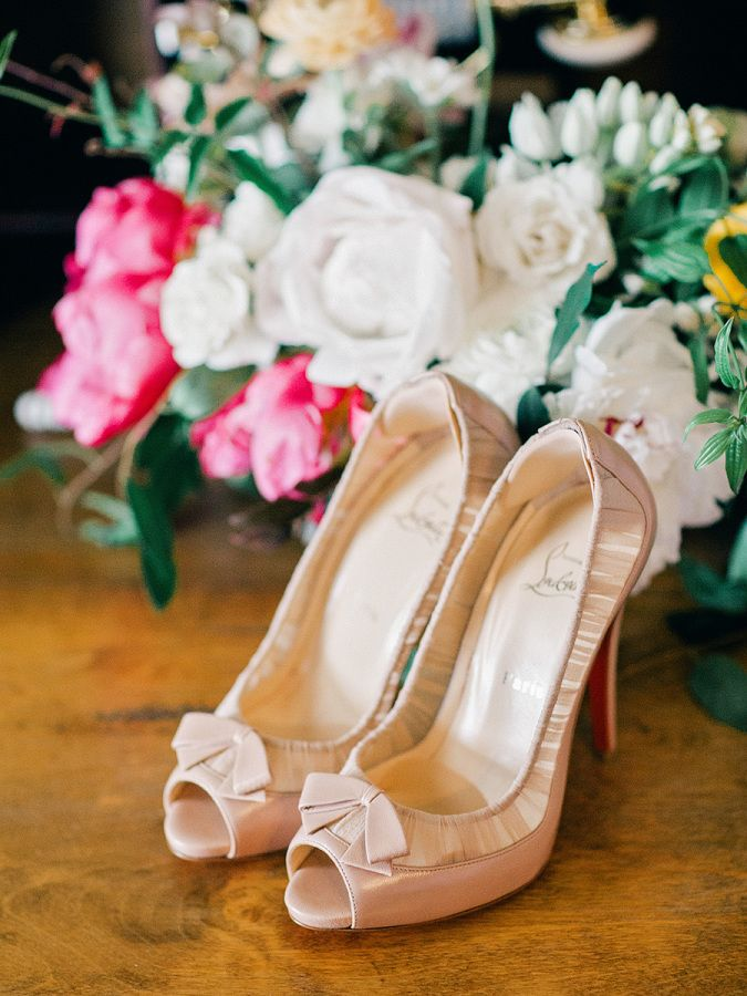 Blush peep toe Christian Louboutin heels: http://www.stylemepretty.com/2017/04/14/the-olde-pink-house-wedding/ Photography: Amy Arrington - http://www.amyarrington.com/