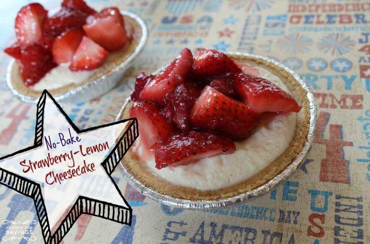 No Bake Strawberry Lemon Cheesecake! Easy Homemade Cheesecake Recipe!