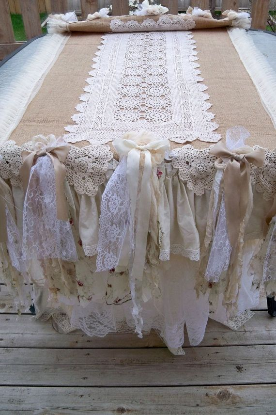 Large burlap runner tablecloth hand made embellished upcycled lace crochet ruffles ooak by Anita Spero via Etsy