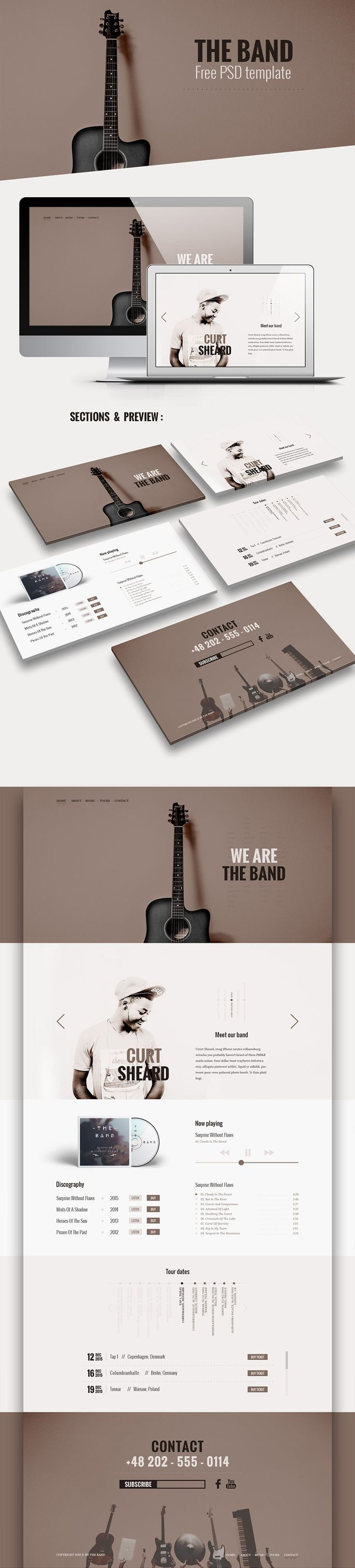 Download Music Band Website Template Free PSD. This is a clean and trendy one page landing page template specially made for bands, musicians or other music related websites Than this high quality band music website template PSD will be suitable for your website. Music Band Website Template PSD is absolutely free for personal or commercial use. Hope you like it. Enjoy!