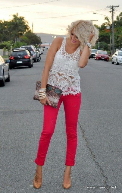 bright color + lace: Lace Tops, Red Skinny, Red Jeans, Nudes Shoes, Bright Color, Pink Pants, Color Pants, Bright Pants, Red Pants
