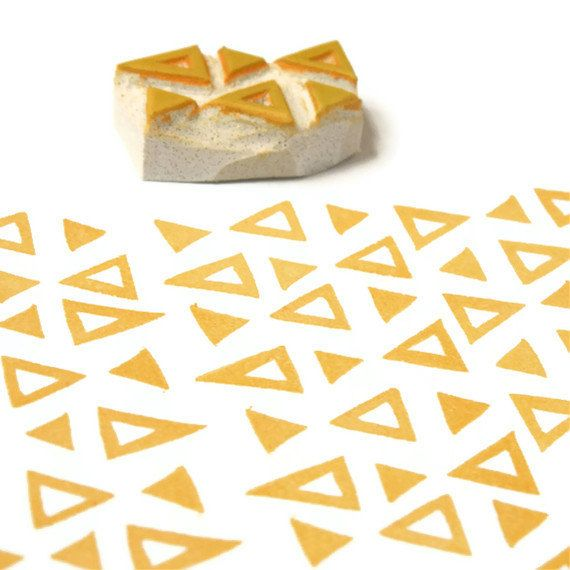 Carvado de sellos. Retro Triangles Border Rubber Stamp - Cling Rubber Stamp