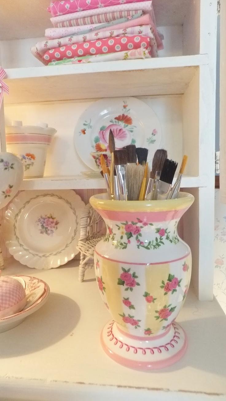 Laura Ashley vase on my studio hutch