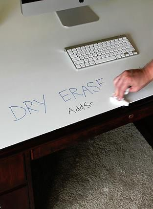 learn how dry erase paint (yes, it's a thing) transformed an old desk into a modern whiteboard desk!