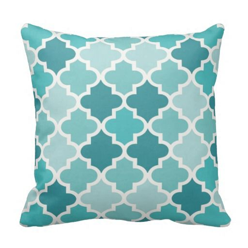 Moroccan Quatrefoil Tile Pattern | Turquoise Blue Throw Pillow