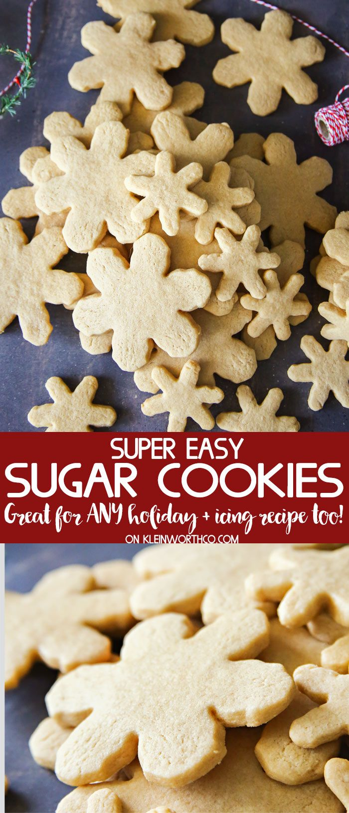 Easy Sugar Cookie Recipe for soft & chewy sugar cookies that come out perfect every time. Great for any holiday & super delicious gifts. You'll love them. via @KleinworthCo #sugarcookies #holiday #cookies #christmas #snowflake #dessert #treat #easyrecipes