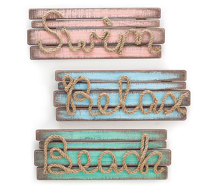 Life really is better at the beach with these fun signs: Swim, Relax, and Beach! #burtonandburton #beach #signs