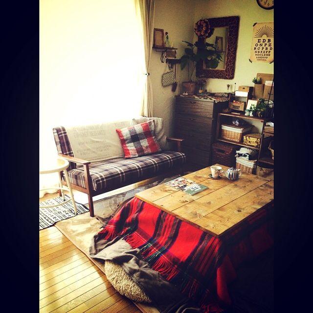 こたつ/SPF材/ワトコ ミディアムウォルナット/男前も可愛いも好き/DIY…などのインテリア実例 - 2014-12-05 17:17:27   RoomClip(ルームクリップ)
