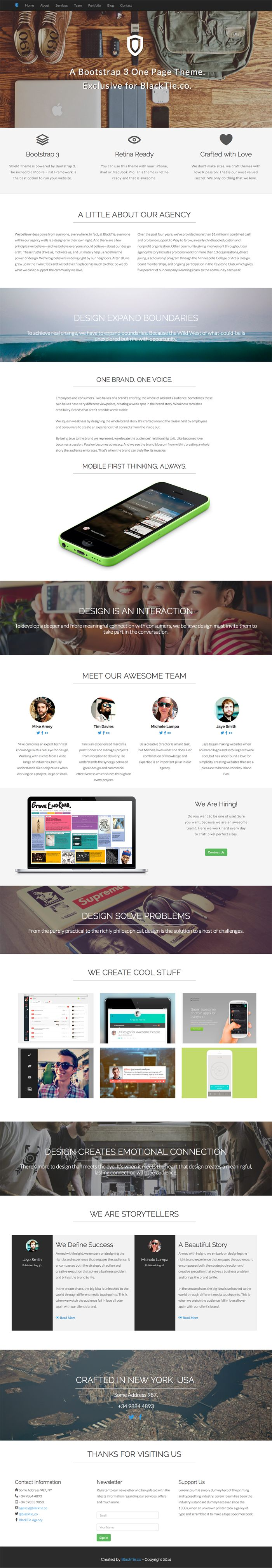 Black Tie – Free Handsome Bootstrap Themes – Shield – One Page Theme