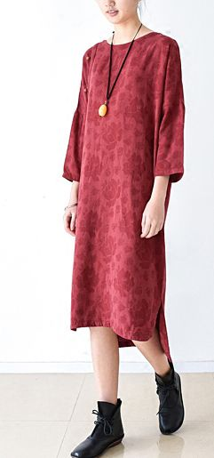 2016 fall red linen dress floral oversized cotton dresses