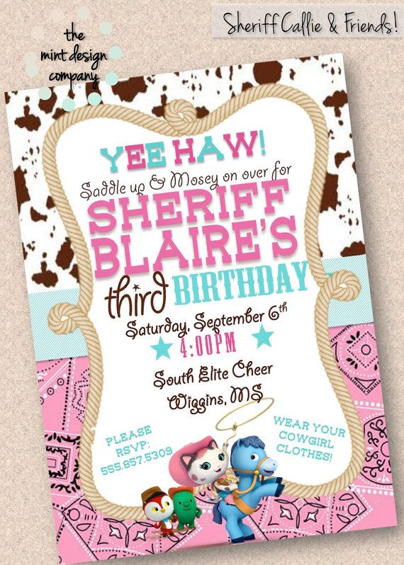 Sheriff Callie & Friends Birthday Party Invitation by MintDesignCo