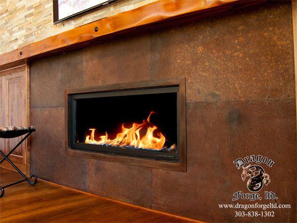 Rusted Steel Plate Fire Surround - Dragon Forge LTD - Colorado Blacksmith
