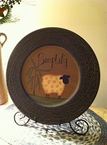 New Primitive Country Folk Art SIMPLIFY Sheep Willow Tree Wood Plate & Stand