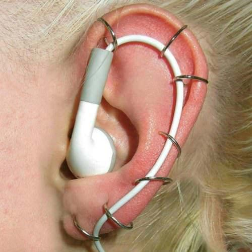 """When you're sick of your earbuds falling out ...Follow on pinterest """"Holy Nurse"""" & get biggest #fun #funny #memes #funny_memes #funny_gif #funny_videos #funny_pictures #funny_photos in here."""