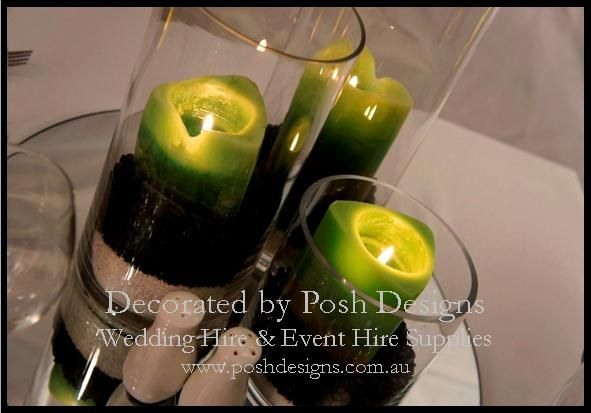 Cylinder candle holder table centres with green candles and mirrored tile,  - #wedding and #event #theming available at #poshdesignsweddings - #sydneyweddings #countryweddings #southcoastweddings #wollongongweddings All stock owned by Posh Designs Wedding & Event Supplies - lisa@poshdesigns.com.au,  www.poshdesigns.com.au or www.facebook.com/poshdesigns.com.au #Wedding #reception #decorations #Outdoor #ceremony decorations #Corporate #event decoration