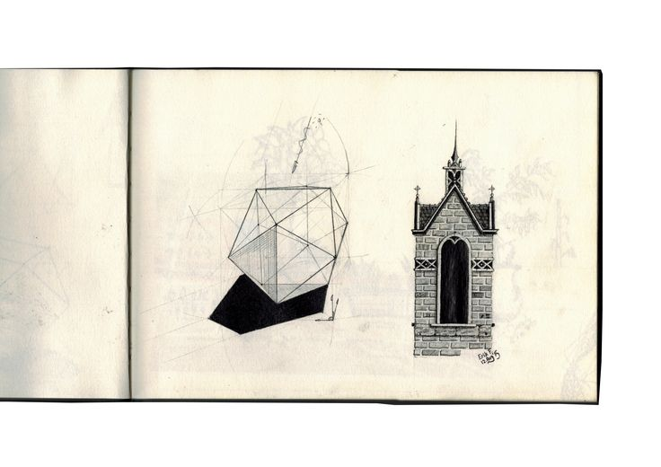 Sketchbook: Jul-Sep 2015, Gothic Architecture, Geometry, Pencil Sketch.
