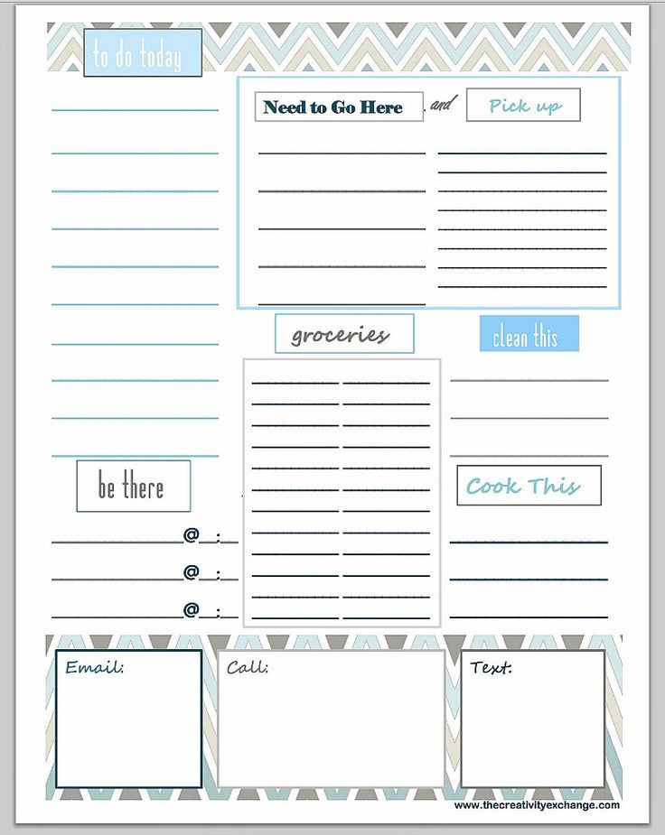 Free customizable and printable To Do List.  Just type in your section headers and print. You can make any kind of list imaginable. The Creativity Exchange