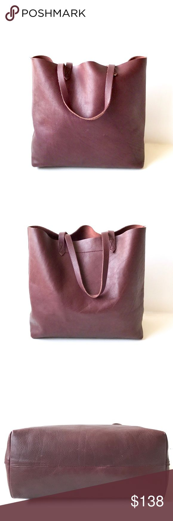 "Madewell • Transport Tote in Cabernet A large and spacious tote, perfect for your everyday essentials. Made of vegetable tanned leather, this lovely shade of cabernet will darken and age beautifully over time! An amazing color that is no longer sold online!   + 14"" W x 14"" H x 6"" D  + in great overall condition, a few light outer scuffs and corners show light wear; interior is smooth and clean + all photos taken by me, modeled photos from internet Madewell Bags Totes"