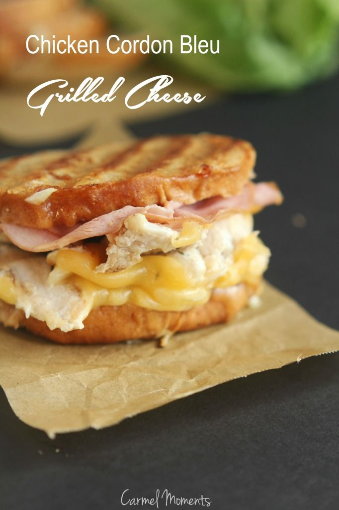 Chicken Cordon Bleu Grilled Cheese -- Simple and delcious grilled cheese for meat and cheese lovers | carmelmoments.com