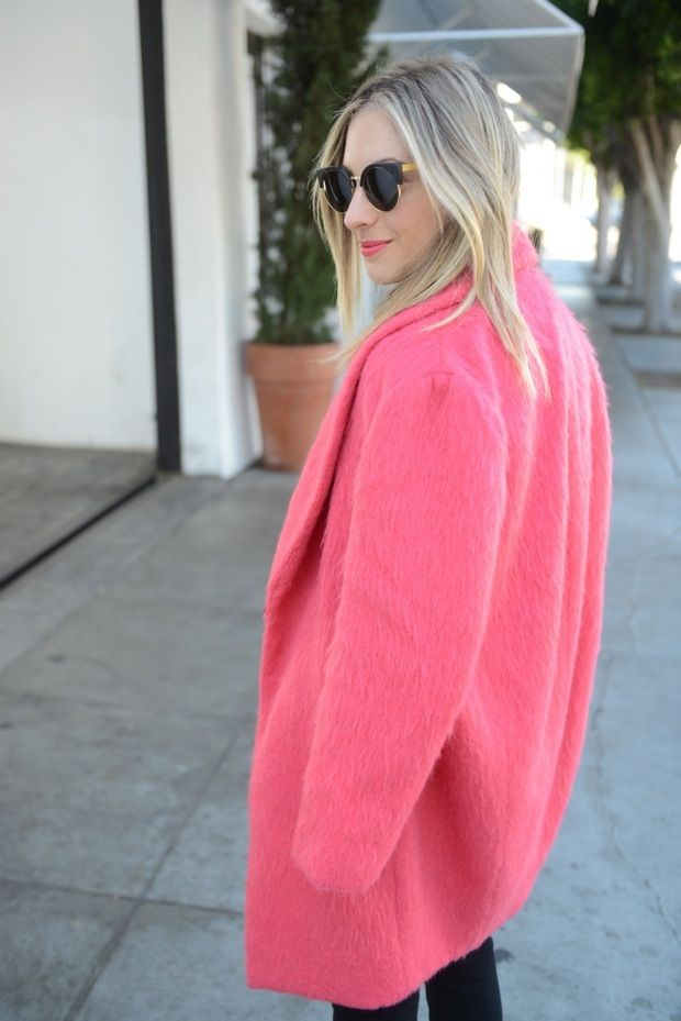 Bright pink Cocoon Coat | Cupcakes & Cashmere
