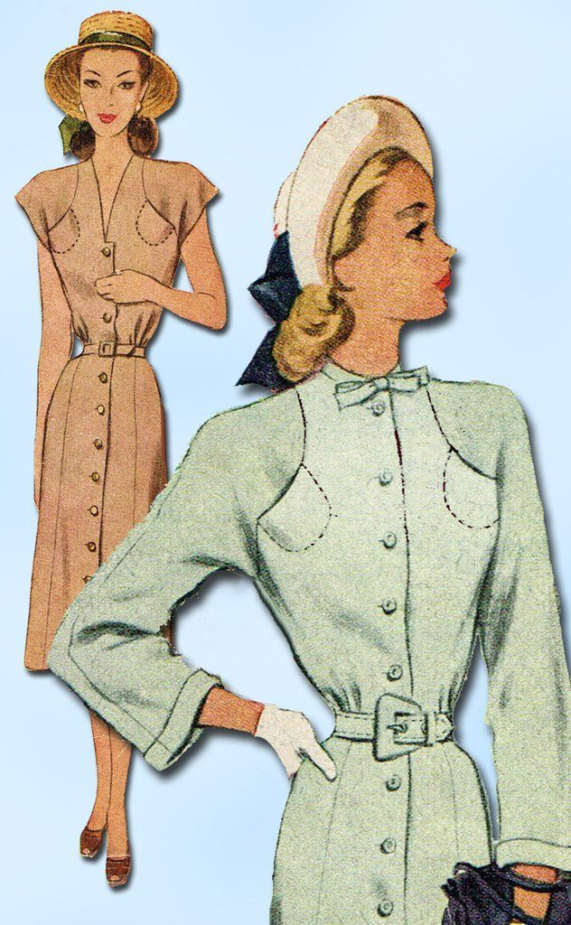 1940s Vintage McCall Sewing Pattern 6932 Misses Street Dress Size 12 32 Bust