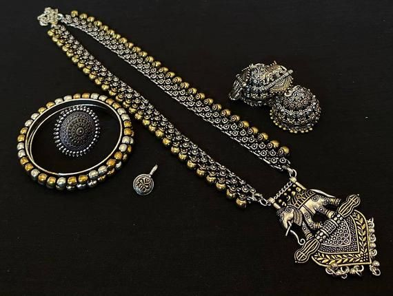Oxidised silver and gold dual tone necklace Indian jewelry! Oxidized Jewellery !!