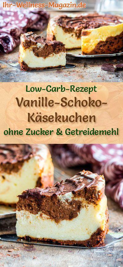 Low Carb Vanille-Schoko-Käsekuchen – Quarkkuchen-Rezept ohne Zucker – #Carb #oh…