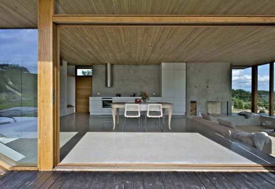 concrete floor, wood ceiling