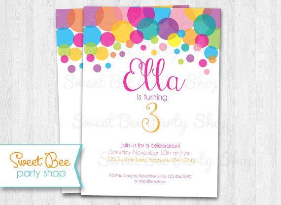 Polka Dot Invitation - Birthday Invitation - Shower - Printable Invitation - Colorful Rainbow - 5x7 PDF or JPEG on Etsy, $12.00 #polkadot #printable #invitation