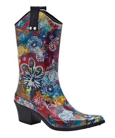 Blue & Yellow Rio Cowboy Rain Boot #zulily #zulilyfinds