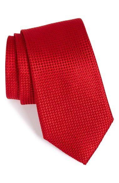 Cravate Mince - Soie Jacquard Tissé Dans L'encoche Rose Corail Solide v6CP7E