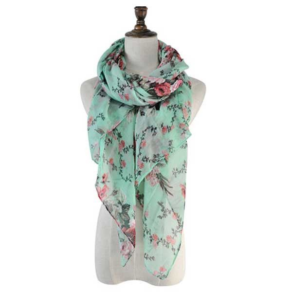 The Rose Garden Scarf Lightweight and beautiful, the green and pink tones are soft and warming against your skin.