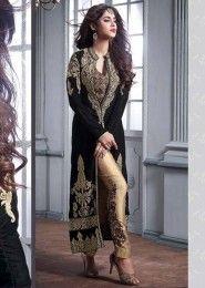 Bridal Wear Black Velvet Embroidered Work Salwar Suit