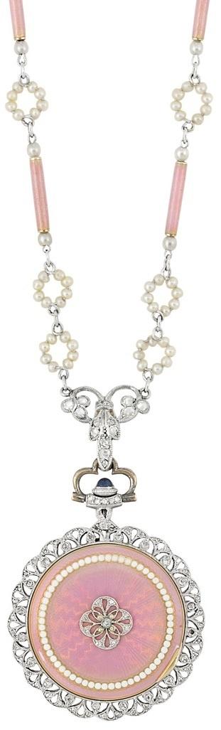 Enamel, seed pearl, and diamond pendant-watch. Belle Epoque, circa 1910. V