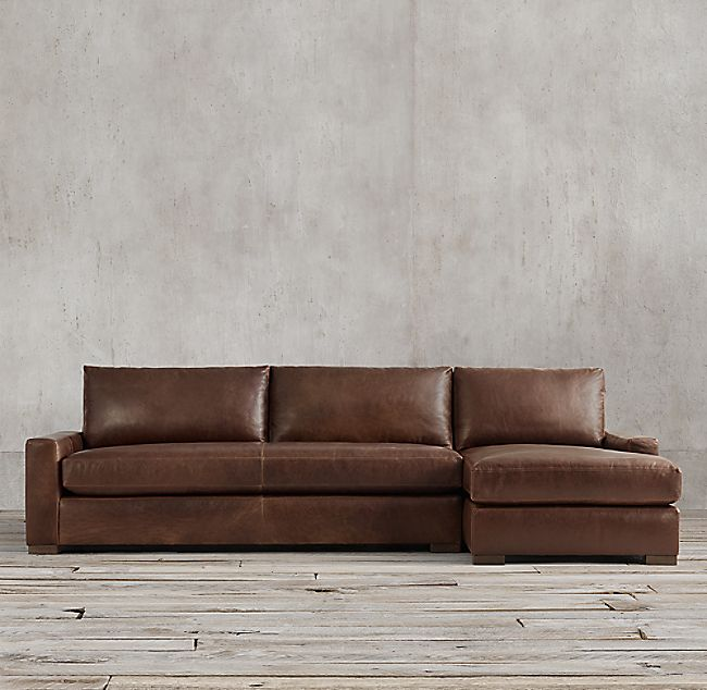 Maxwell Leather Sofa Chaise Sectional | Sectional sofa with