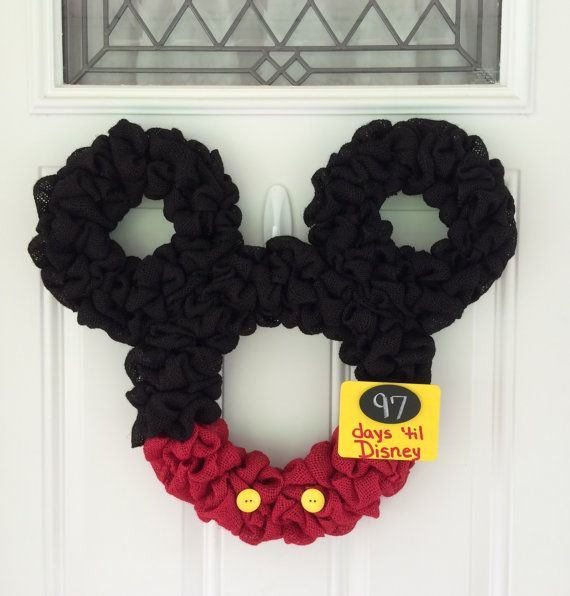 Mickey Mouse wreath - Burlap wreath - Countdown to Disney - Personalized Mickey - party decor - nursery decor - mickey mouse club on Etsy, $60.00