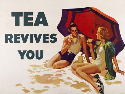 Tea revives youVintage Posters, Teas Time, Sandy Beach, Picture-Black Posters, Vintage Wardrobe, Vintage Teas, At The Beach, Teas Revival, Vintage Ads