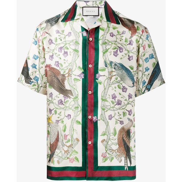 Gucci Birds of Prey print bowling shirt ($765) ❤ liked on Polyvore featuring men's fashion, men's clothing, men's shirts, men's casual shirts, mens button front shirts, mens silk shirts, gucci mens shirts and colorful mens dress shirts