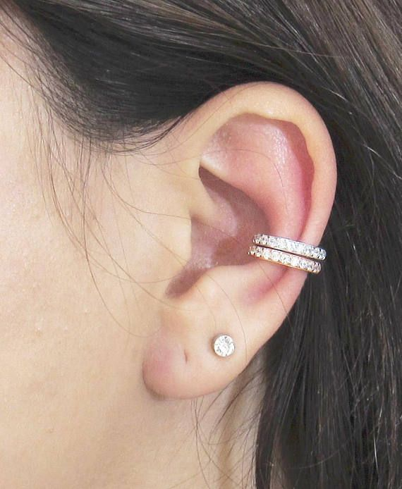 Sterling Silver Ear Cuff CZ Pave Ear Cuff 18K Gold Vermeil