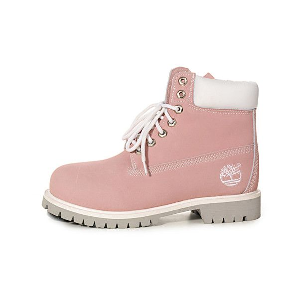 Botas Timberland Mujeres Timberland 6 Inch Boots white/pink found on Polyvore