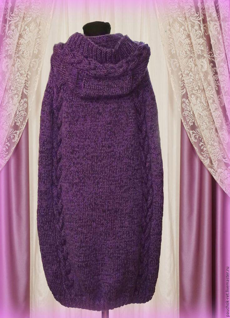 Купить Вязаное Пальто - пончо. Кейп - фиолетовый, однотонный, пончо вязаное, пончо спицами