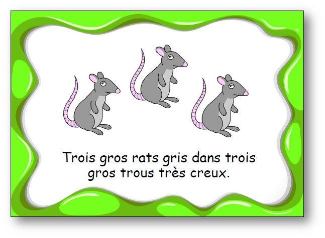 """FREE French tongue-twisters cards. Des virelangues pour jouer avec les mots et s'entraîner à articuler. Virelangue """"Trois gros rats gris"""""""